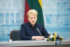 President of Lithuania Dalia Grybauskaite. VILNIUS, LITHUANIA - Dec 02, 2015: President of Lithuania Dalia Grybauskaite during a meeting with President of Royalty Free Stock Images