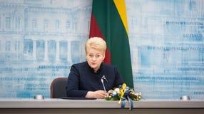 President of Lithuania Dalia Grybauskaite. VILNIUS, LITHUANIA - Dec 02, 2015: President of Lithuania Dalia Grybauskaite during a meeting with President of Royalty Free Stock Image