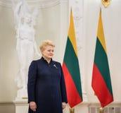 President of Lithuania Dalia Grybauskaite. VILNIUS, LITHUANIA - Dec 02, 2015: President of Lithuania Dalia Grybauskaite during a meeting with President of Stock Photo