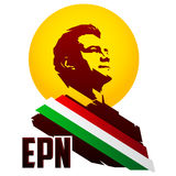 President of Mexico Enrique Pena Nieto and the initials of his name EPN Royalty Free Stock Images