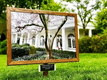 President and Mrs. Trump outside the cabinet room. The White House spring garden tour 2016 Royalty Free Stock Images