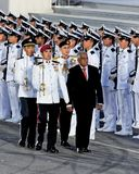 President Nathan inspecting guard-of-honor at NDP Royalty Free Stock Photography