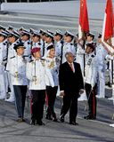 President Nathan inspecting guard-of-honor at NDP Royalty Free Stock Images