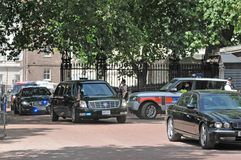 President Obama arrives at Buckingham Palace. US President Barack Obama's motorcade together with a police escort travelled down the Mall on its way to Royalty Free Stock Images
