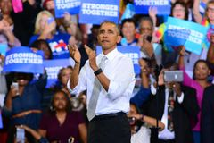 President Obama. President Barack Obama campaigns for Hillary Clinton in Orlando Florida Stock Photos