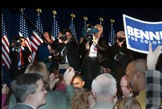President Obama Colorado. United States of America President Obama whistle stop for Michael Bennet at the Fillmore in Colorado 2010 Stock Photo
