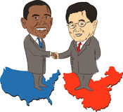 President Obama and Hu Jintao. American president Barack Obama and Chinese President Hu Jintao in a handshake standing on map of USA and China