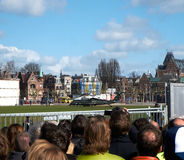 President Obama's visit to the Rijksmuseum. Spectators gather around the temporarily security fence to catch a glimpse of president Barack Obama during his visit Stock Images
