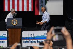 President Obama with Senator Reid at 20th Annual Lake Tahoe Summit 6 royalty free stock photo