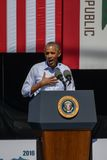 President Obama Speaking at 20th Annual Lake Tahoe Summit 5. President Barack Obama speaks at the 20th Annual Lake Tahoe Summit at Harvey's Lake Tahoe Outdoor Stock Photo