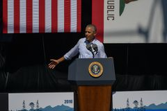 President Obama at 20th Annual Lake Tahoe Summit. President Barack Obama at the 20th Annual Lake Tahoe Summit at Harvey's Lake Tahoe Outdoor Arena, Stateline Royalty Free Stock Photos