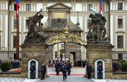 President Palace with honor guard. Prague, Czech Republic, May 14, 2009. President Palace with honor guard in full dress parade, Prague, Czech Republic Royalty Free Stock Photography