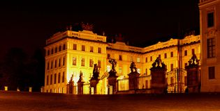 President palace at night. Prague president palace at night - mysterious scene in old prague castle Royalty Free Stock Photos