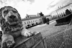 President Palace in Warsaw. President Palace in Poland, Warsaw. Black and white image royalty free stock photography