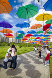 President Park in Astana, Kazakhstan. Alley colored umbrellas. The existing President Park of Astana should see more action and life in the future. Because the Royalty Free Stock Photos