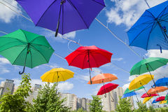 President Park in Astana, Kazakhstan. Alley colored umbrellas. The existing President Park of Astana should see more action and life in the future. Because the Stock Image