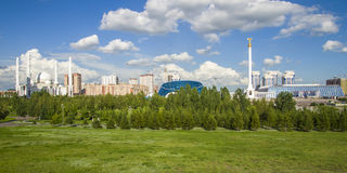President Park in Astana, Kazakhstan. The existing President Park of Astana should see more action and life in the future. Because the soil is poor, trees grow Royalty Free Stock Images