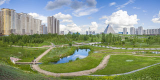 President Park in Astana, Kazakhstan. The existing President Park of Astana should see more action and life in the future. Because the soil is poor, trees grow Royalty Free Stock Photo