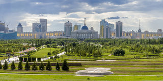 President Park in Astana, Kazakhstan. The existing President Park of Astana should see more action and life in the future. Because the soil is poor, trees grow Royalty Free Stock Image