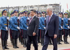 The President of the People's Republic of China and President of Serbia. The President of the People's Republic of China (PRC) in his three-day visit to Serbia Royalty Free Stock Photography