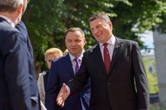 President of Poland Andrzej Duda and President of Latvia Raimonds Vejonis. 27.06.2018. RIGA, LATVIA. President of Poland Andrzej Duda and Mrs Agata Kornhauser royalty free stock photo