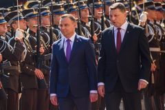 President of Poland Andrzej Duda and President of Latvia Raimonds Vejonis. 27.06.2018. RIGA, LATVIA. President of Poland Andrzej Duda and Mrs Agata Kornhauser stock image