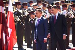 President of Poland Andrzej Duda and President of Latvia Raimonds Vejonis. 27.06.2018. RIGA, LATVIA. President of Poland Andrzej Duda and Mrs Agata Kornhauser royalty free stock photography