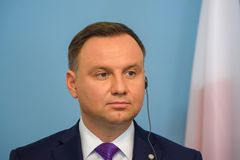 President of Poland Andrzej Duda. 27.06.2018. RIGA, LATVIA. President of Poland Andrzej Duda and President of Latvia Raimonds Vejonis press conference, during royalty free stock image