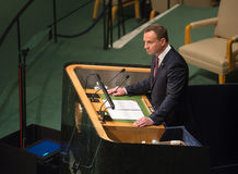 President of Poland Andrzej Duda on 70th session of UN Royalty Free Stock Photos