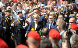 President of Poland Andrzej Duda. WARSAW, POLAND - AUGUST 6, 2015: New president of Poland o/p: Andrzej Duda and his wife Agata Duda stock photo