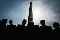 President Poroshenko eerde geheugen van slachtoffers van oorlog in de Oekraïne stock foto's