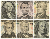President portraits on dollar bills Stock Photos