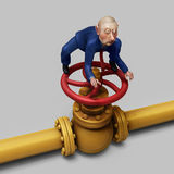 Trader on gas pipe valve illustration. Russian trader sitting on gas pipe valve 3d illustration Royalty Free Stock Photo
