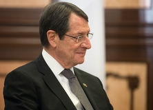President of the Republic of Cyprus Nicos Anastasiades. KIEV, UKRAINE - Dec 11, 2015: President of the Republic of Cyprus Nicos Anastasiades during a meeting Stock Image