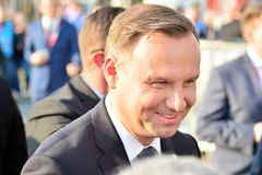 President of the Republic of Poland Andrzej Duda. The ceremony of unveiling the monument the victims of a plane crash near Smolens. Warsaw, Poland. 10 april 2018 royalty free stock photography