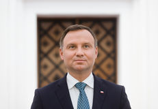 President of the Republic of Poland Andrzej Duda. KIEV, UKRAINE - Aug 24, 2015: President of the Republic of Poland Andrzej Duda during his visit to Ukraine stock image