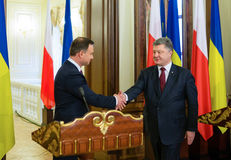 President of the Republic of Poland Andrzej Duda. KIEV, UKRAINE - Dec 15, 2015: President of Ukraine Petro Poroshenko and President of the Republic of Poland stock images