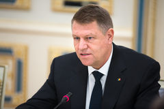 President of Romania Klaus Iohannis. KIEV, UKRAINE - Mar. 17, 2015: Romanian President Klaus Werner Iohannis, during a meeting with the President of Ukraine Stock Photo