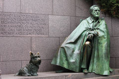 President Roosevelt Memorial Washington DC. Outdoor view of Franklin Delano Roosevelt memorial, 32nd president, and his dog Fala.  The statue depicts the Royalty Free Stock Photos