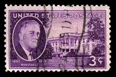 President Roosevelt and the White House Postage Stamp Royalty Free Stock Photos