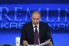 President of Russian Federation Vladimir Putin. Moscow, Russia - December 18, 2014: The President of the Russian Federation Vladimir Vladimirovich Putin an Royalty Free Stock Photography
