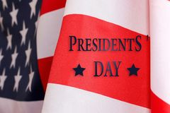 President`s day background. The text of PRESIDENT`S DAY and the US flag.  royalty free stock images