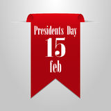 President`s Day February 15th. Red label on a gray background Royalty Free Stock Photos