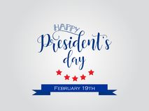 President`s Day in USA Background. graphic design for decoration posters, cards, gift cards. Happy President`s Day hand lettering, american holiday design Stock Image