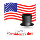 President`s Day vector illustration. American flag, top hat and greeting inscription. Royalty Free Stock Image