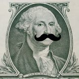 The president`s face with hipster mustache royalty free stock photography