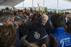 President Sergio Mattarella bij begrafenis, Amatrice, Italië Stock Fotografie
