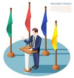 President Speech Isometric Composition. President near tribunes with microphones during public speech surrounded by colorful flags isometric composition vector stock illustration