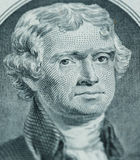 President Thomas Jefferson face on us two dollar bill closeup ma. Cro, united states money royalty free stock images