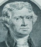President Thomas Jefferson face on us two dollar bill closeup ma. Cro, united states money stock photos